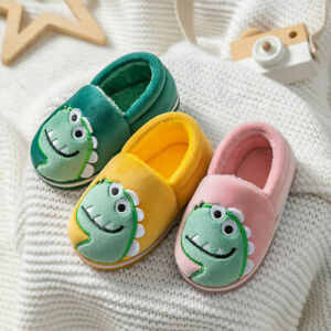 Girls Boys Cozy Comfy Slippers Funny Fluffy Indoor Warm Dinosaur House Shoes