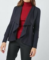 Womens Ladies Navy Asymmetrical Textured Waterfall Jacket UK Size 8 10 12 14 NEW