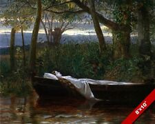 THE LADY OF SHALOTT ON LAKE ALFRED TENNYSON POEM PAINTING ART REAL CANVAS PRINT