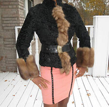 New Designer Russian Sable & Black broadtail Fur Coat jacket bolero XS-S 0-4