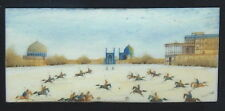 EXTREMELY SMALL ORIGINAL PERSIAN MINIATURE PAINTING, POLO GAME, IRAN, IRANIAN