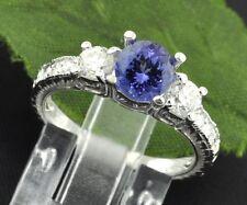 14k Solid White Gold Natural Diamond & AAA Round Cut Tanzanite Ring 1.70 ct
