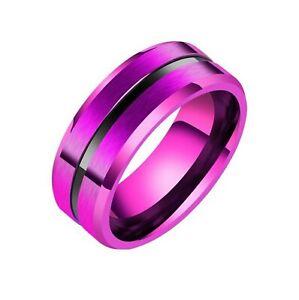 Purple Black Modern Ring Mens Womens Stainless Steel Wedding Band Sizes 7-11
