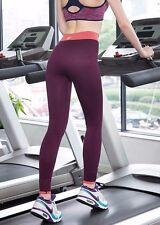 Damen Sport Fitness Hose Leggings High Waisted Lila für XS-34 S-36 M-38 L-40