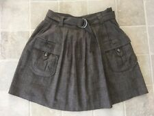 WOMENS, WITCHERY FLARED SKIRT, BROWNS, WORK/CASUAL, SIZE 8, COTTON/LINEN BLEND