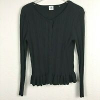 CAbi 5287 L Large Black Ruffle Cardigan Knit Stretchy Party Sweater