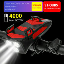4 In1 Bicycle Front Light 4000 mAh USB Rechargeable Battery LED Bike Headlight