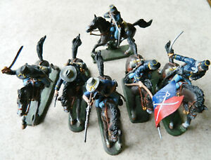 6 TSSD San Diego 60mm painted plastic mounted 7th Cavalry toy soldier figures