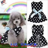 Pet Clothes Dog Skirt Dress Costume Polka Dot Retro Big Bow Knot Puppy Party US
