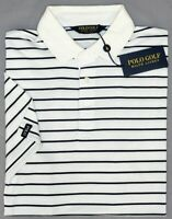 NEW $89 Polo Golf Ralph Lauren White Striped Short Sleeve Shirt Mens Wicking NWT