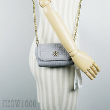 New Tory Burch BRYANT Mercury Gray Quilted Cross Body Purse Bag Clutch 34029