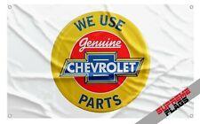 Chevrolet Genuine Parts Flag Banner (3x5 ft) Gm Car Garage White