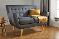 Birlea Mezzanine Tissu Gris Canapé 2 Place Moderne Classique Confort Meuble Home
