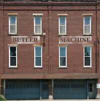 #123 HO scale background building flat  BUTLER MACHINE  *FREE SHIPPING*