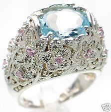 David Sigal Solid 925 Sterling Silver Floral Blue & Pink Crystal Ring Sz-6 '