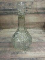 """Clear Decanter Liquor Bottle 10"""" Vintage Daisy Design"""