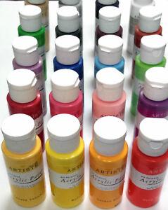 Docraft Artiste Craft Acrylic Paint Bottles 88 Colours.  Matt, Metallic or Pearl