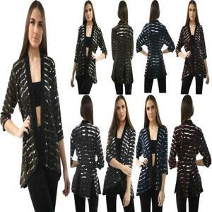 Womens Plus Size Lurex Sparkle Sequin Open Front Cardigan Ladies 3/4 Sleeve Top