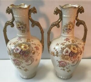 Antique Pair Of Clay Bros England Vases Vase Extremely Rare