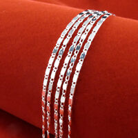"5pcs Unisex 925 Silver Sterling Snake Figaro Box Chain Necklace Jewelry 16""-30"""
