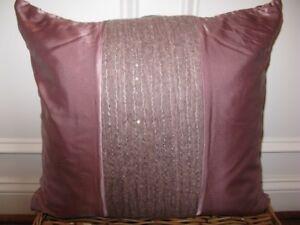 Donna Karan CITY STRIPE Silk Shimmer Decorative Pillow PEONY NWT