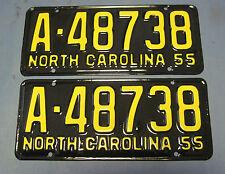 1955 North Carolina license plates matched pair Professionally Restored