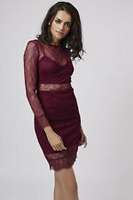 Topshop Burgundy Lace Layer Christmas Party Dress  Size 8