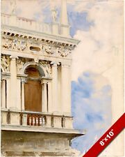 THE LIBRARY OF VENICE ITALY SARGENT WATERCOLOR PAINTING ART REAL CANVAS PRINT