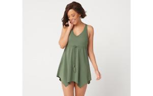 Denim & Co. Beach V-Neck Handkerchief Hem Swim Dress Dark Olive Size 16 A350352