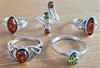 WHOLESALE JOB LOT 5 Baltic Amber & 925 Solid Sterling Sterling Silver RINGS