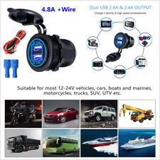 Dual USB Charger Socket 2.4A &2.4A With Wire In-line 10A Fuse For Car Motorcycle