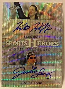 Katie Hoff / Jessica Long 2017 Leaf Sports Heroes Metal WAVE Autograph Auto /25