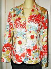 Ladies M ~Valerie Stevens~ Exceptional SUIT TOP BLAZER JACKET White Multi Floral