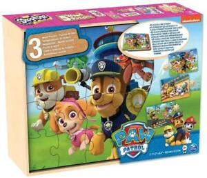 Spin Master Paw Patrol Wooden Jigsaw Puzzle Box 3 In 1 Toy Children Fun