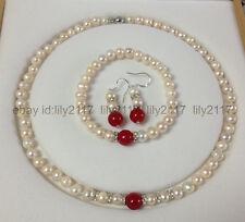 7-8MM White Akoya Cultured Pearl/Red Jade bracelets necklace earrings Set