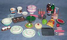 Vtg Lot TYCO Kitchen Littles 51pc Food Fried Chicken Bucket Cake Pie Barbie 1:6