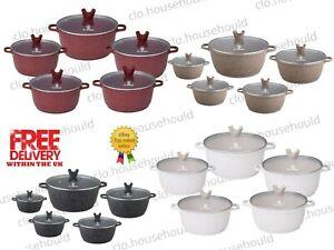 JS Marble Coated Die Cast Non-stick Casserole/ Cooking Pot SINGLE PIECE/FULL SET
