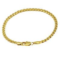 Luxury 4 mm width 18 k Gold Plated Unisex Bracelet for Men Women Jewellery BB119