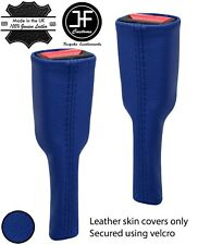 BLUE REAL LEATHER 2X SEAT BELT STALK TALL COVERS FITS NISSAN S15 SILVIA 99-03