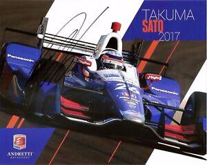 2017 TAKUMA SATO signed INDIANAPOLIS 500 HERO PHOTO CARD POSTCARD INDY CAR HONDA