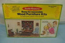 """VINTAGE NOS REALIFE MINIATURES DOLL HOUSE FURNITURE KIT DESK LIBRARY SCALE 1""""=1'"""
