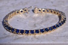 15 Ct Radiant Cut Blue Sapphire 10K Yellow Gold Finish Tennis Bracelet