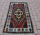 Oriental Wool Carpet Turkish Vintage Handmade Blue Anatolian Oushak Rug 3x4 ft