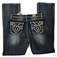 Realco Jeans Western Women's Size 33 Embroidered Heavy Dark Blue Boot Contrast