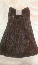 Metallic Rose Strapless Swing Dress - Chocolate Brown Size 8 - 10