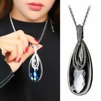 Luxury Women Water Drop Crystal Charm Pendant Necklaces Long Chain Jewelry Gifts