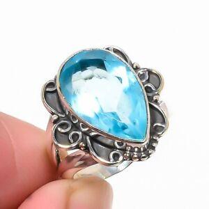 Blue Topaz Vintage Style Gemstone 925 Sterling Silver Handmade Ring s.5 S1967