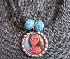 Moana Ribbon Bottle Cap Bling Charm Necklace Blue Beads Ocean Maui Polynesia