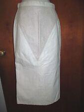 Vintage 1980s Sexy Long White Leather Big Hair skirt animal print G-Iii sz 5 / 6