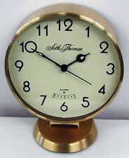 SETH THOMAS BRASS ROUND PEDESTAL TABLE ALARM CLOCK TGO-1248